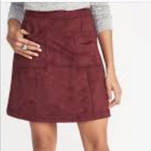 Burgundy Suede Red Mini Skirt